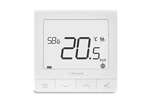 Salus SQ610RF Quantum Thermostat für Heizung, Funk Raumthermostat Heizungsregelung für Fussbodenheizung, Smart Home, Weiß, 86 mm x 86 mm x 11 mm