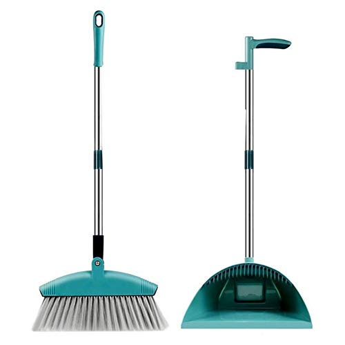 SADDPA Broom Dustpan Suit Combination Household Fold Lazy Sweep The Floor Sweeping Hair Artifact Wooden Floor Windproof Magic Broom (Color : Green)