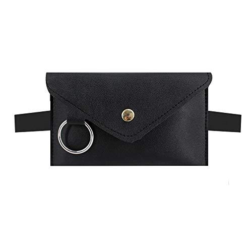 Danse Jupe Women Mini Envelope Waist Bag PU Leather Clutch Cell Phone Purse Chest Bag Black