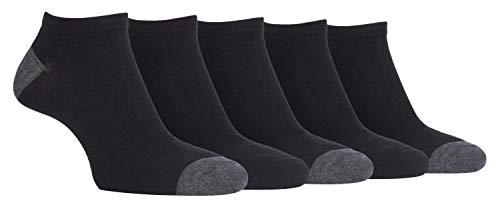 FARAH® - 6er Pack Herren Bunt Kurz Sneaker Bambussocken mit Gestreift (39/45, CS237BLK (Plain))