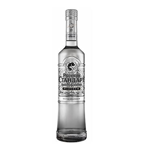 Russian Standard Vodka Platinum (1 x 700 ml), russischer Vodka aus St. Petersburg, Premium-Vodka mit Silberfiltrierung für absolute Reinheit, seidenweicher Vodka mit feinem Zitrus-Aroma, 40 % Alk.