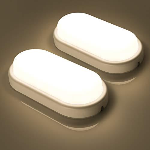 2er Oeegoo LED Deckenleuchte IP54 Badlampe, 12W 960lm Flimmerfrei Deckenlampe, Wasserfest Feuchtraumleuchte für Keller, Diele, Badezimmer, Wand, Wohnzimmer Neutralweiß 4000K-4500K