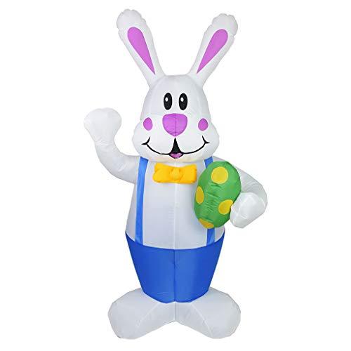 6Wcveuebuc 1.9m inflable de Pascua conejo de juguete de la luz de la noche led figura patio jardín al aire libre fiesta adorno decoraciones de EE.UU./Reino Unido/UE/AU enchufe