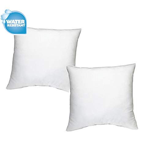 "IZO Home Goods Premium Outdoor Anti-mold Water Resistant Hypoallergenic Stuffer Pillow Insert Sham Square Form Polyester, 18"" L X 18"" W (2 Pack), Standard/White"
