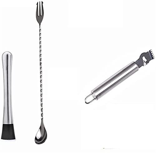 Agitador de cócteles y una cuchara de cóctel largo con la horquilla, el palillo de aplastamiento de acero inoxidable, el martillo, el rebanador de limón, el pelador de frutas de limón, la cocina domés
