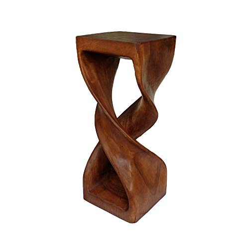 Collumino Asian Oriental Double Twist Tall 30 inch Solid Wood Cocktail Bar Stool ~ Square Top Side Table ~ End Table ~ Corner Display Stand (Caramel Brown)