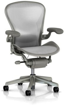 Hot Sale Aeron Chair by Herman Miller - Home Office Desk Task Chair Fully Loaded Highly Adjustable Medium Size (B) - Lumbar Back Support Cushion Titanium Smoke Frame Classic Zinc Pellicle