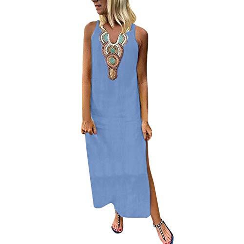 Auifor Dames Plus Size Bohemian O-Neck Bloemenprint Vintage mouwloos lange maxi-jurk