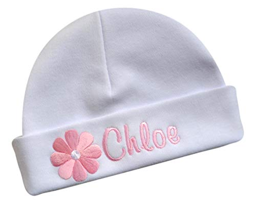 Personalized Embroidered Baby Girl Hat with Spring Daisy and Your Custom Name (White HAT/Light Pink Daisy)