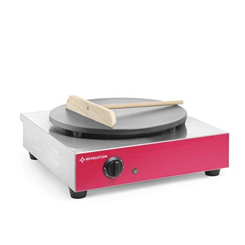 Revolution Gastro-Crepes Maker Edelstahl | Profi Crepiere 3000 W | 45x51x(H) 24 cm | Ø400 mm Heizplatte | Temperaturbereich bis zu 250°C | Ideal für Pfannkuchen, Crêpes Pfanne | inkl. Teigverteiler