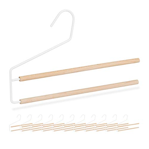 Relaxdays Hosenbügel 12er Set, platzsparend & mehrfach, für Hosen, Jeans & Schals, rutschfest, Holz & Metall, weiß/Natur, 12 Stück