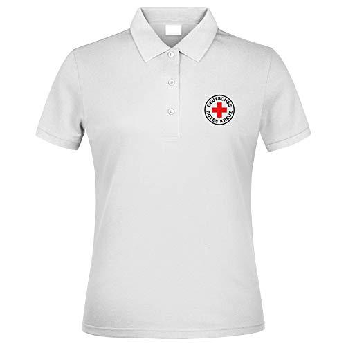 MT83 DRK Deutsches Rotes Kreuz Damen Poloshirt alle gestickten Logos (L)
