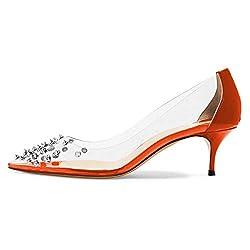 Rhinestone Studded Pointy Toe Mid Spike Heels In Orange