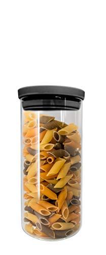 NERTHUS FIH 656 656-Recipiente Redondo 900 ml, Caja de conservación de Alimentos, Libre de BPA, Cierre facil, Bote hermético, Cristal, 15.5 x 10 x 10 cm