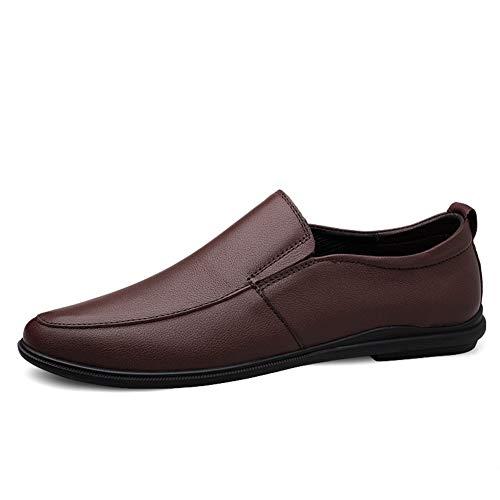 CAOJJ Mocasines de ocio de los hombres sin cordones en cuero de la PU punta redonda superior costura fumar zapatos al aire libre Color sólido flexible, marrón, 41