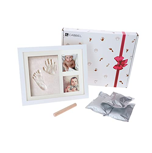 CABBEL Baby Handabdruck und Fußabdruck Set - Baby Hand u. Fuß Gipsabdruck als hochwertiger Bilderrahmen mit extra weicher Gips-Knetmasse - Baby-Geschenk Abdruckset