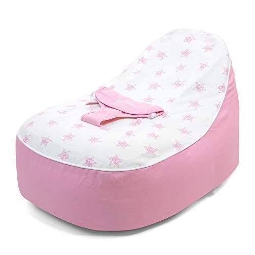 bambeano Sitzsack mit Stütze für Babys, Kuschelliege - Rosa, 0-6 Monate, Reine Baumwolle, Waschmaschinenfest, Sitzsäcke für Babys