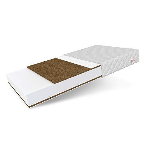 FDM Baby Coco 2 Schaumstoffmatratze Komfortschaum Kokos Matratze Kindermatratze Härtegrade H3 (mittelhart) Höhe 9 Zweiseitig Abnehmbarer Bezug waschbar (70 x 140 cm)