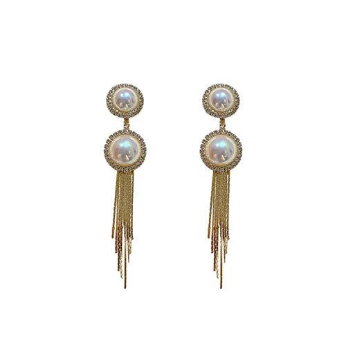 Pendientes para mujer, pendientes de borla de perlas de plata S925