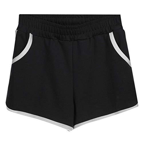 Vectry Shorts Damen Hosen Sommer Hotpants Bermuda Ultra JeansLeggings Strand Running Gym Yoga Der Sporthosen Schlafanzughosen - Mid Waist Loose Drawstring Waist Ringer(Schwarz,XXX-Large)