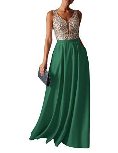 HUINI Abendkleid Lang Damen Ballkleider Hochzeitskleid Vintage Glitzer Cocktail Partykleider Brautkleider Grün 38