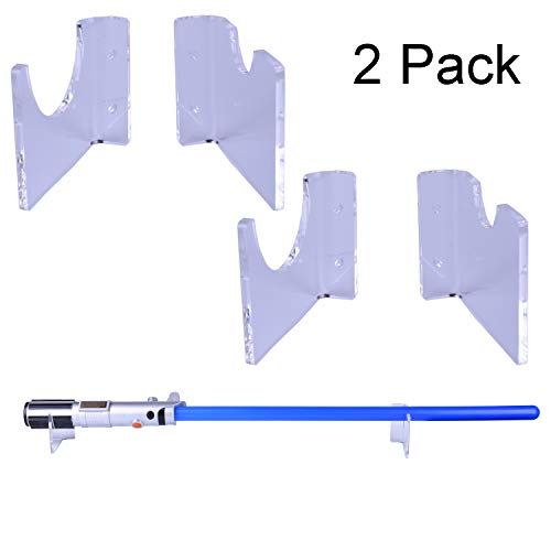 LEKUSHA 2 Pack Clear Horizontal Lightsaber Sword Holder Wall Mount Rack Hook Stand, Compatible for Any Lightsaber Display - Hardwares Included