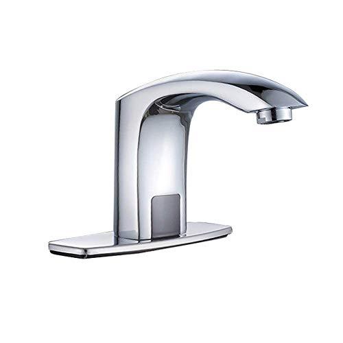 Grifo de lavabo Sensor automático comercial Montaje en cubierta sin contacto Grifo de lavabo de baño de latón macizo con placa de cubierta de orificio Grifos de tocador de cromo cepillado de manos lib