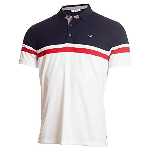 Calvin Klein Golf Herren Anhänger Wicking gestreiftes Polohemd - Weiß/Marine - M