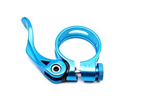 CarbonEnmy Alu - Abrazadera para sillín de bicicleta (34,9-35 mm, luz azul)