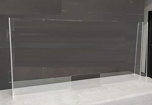 Ruimteverdeler van plexiglas met houders en sokkel van plexiglas. Afmetingen: 200 x 80 cm.