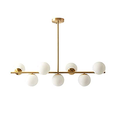 Modo Lighting Modern Gold Chandeliers Brass Mid-Century Frosted Glass Shade Ceiling Pendant Light for Dining Room