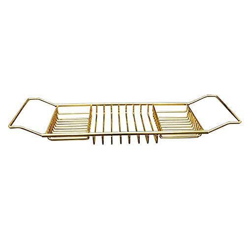 Roestvrijstalen schaalbare badkuip-lade Badkuiprekken, 2 kleuren wijnboekhouder Douche-organizer Badkuip Caddy-lade Badkamerplank, voor elke maat badkuip, 2 stuks (62-100cm),Gold