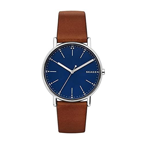 Skagen Men's Analog Quartz Uhr mit Leder Armband SKW6355