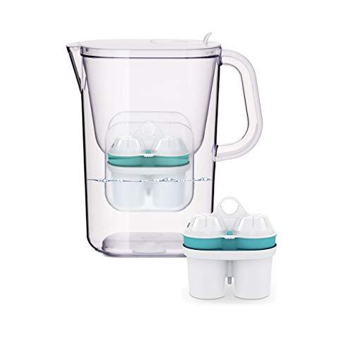 BWT Wasserfilter AQUAlizer 2,6 l weiß inkl. 4 Filterkartuschen | Immunsystem schützen mit ZINK & Bester Geschmack mit MAGNESIUM Kartuschen