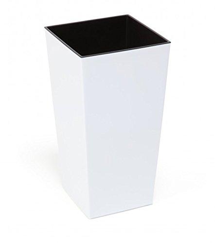 KREHER XL Design Pflanztopf aus Kunststoff in Hochglanz Weiß mit herausnehmbaren Einsatz. Maße BxT in cm: 35 x 35, Höhe 68 cm (extra hoch)