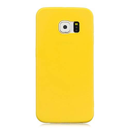 cuzz Funda para Samsung Galaxy S6+{Protector de Pantalla de Vidrio Templado} Carcasa Silicona Suave Gel Rasguño y Resistente Teléfono Móvil Cover-Amarillo