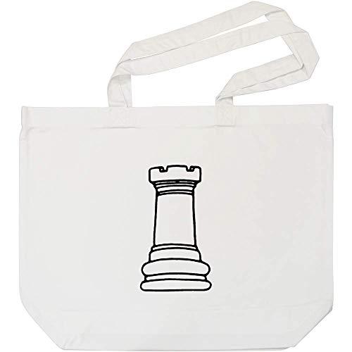 Azeeda 'Turm Schachfigur' Weiße Einkaufstasche (BG00009468)