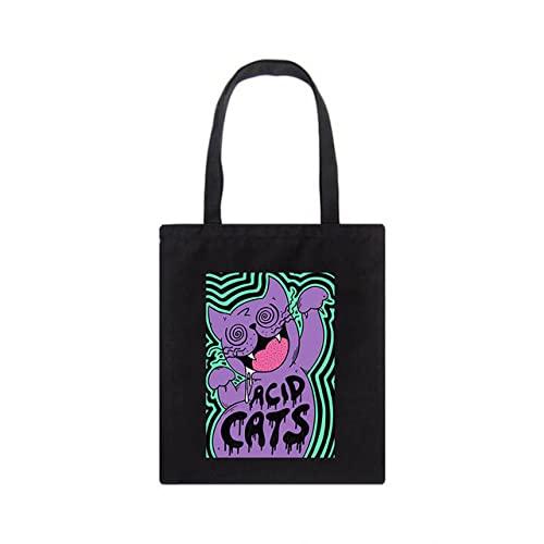 Bolso de lona de gato Harajuku de moda de gran capacidad Vintage informal de dibujos animados Bolso de compras de Hip Hop Bolsos de hombro para mujer, Hei02