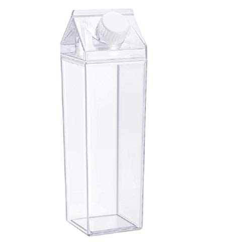 Milk Carton Water Bottle 21oz (500mL) Plastic Clear Square Milk Bottles No BPA Leakproof Water Bottle Portable Reusable Milk Carton Shaped Juice Bottle Perfect for Fitness Gym Camping Sports