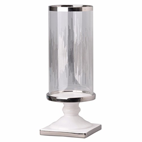 Benjara, Clear and Silver Benzara BM148650 Admirably Modern Elliotte Pedestaled Candle Holder