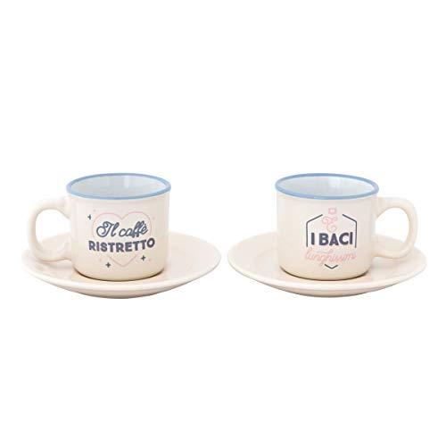 Mr. Wonderful - Juego de 2 tazas de café (café estrecho y peltre largo)
