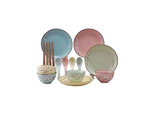 Xiao-bowl3 Platos y Platos de Flores pintadas a Mano de Estilo nórdico. Juego de vajilla de cerámica y Cuenco. Cuenco Combinado de 12 PCS. Vajilla de cerámica