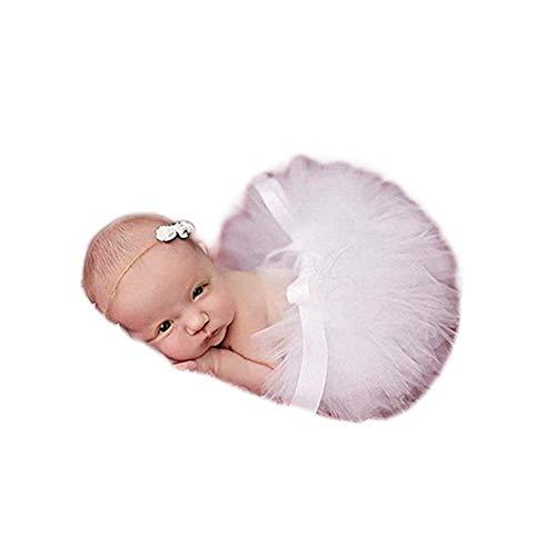 Fashion Unisex Newborn Girl Baby Outfits Photography Props Headdress Tutu Skirt (White)
