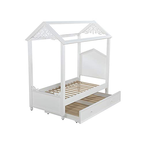 Canopy Bed Frame Full White,Solid Wood House Bed Frame with Arched Headboard and Low Profile Footboard,Canopy with Raised Molding Trim and Scrolled Motifs,Youth Canopy Bed Frame,No Box Spring Needed
