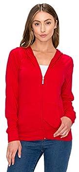 Women s Full Zip Hoodie Jacket - Slim Fit Lightweight Long Sleeve Casual Hooded Zip Up Sweatshirt Athletic Workout SJ4001 Red M