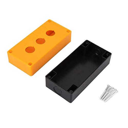 Caja de interruptores, caja de interruptores Wacent BX3 22 mm Botón de tres orificios Control de interruptor Caja protectora Caja de interruptores a prueba de agua(Amarillo)