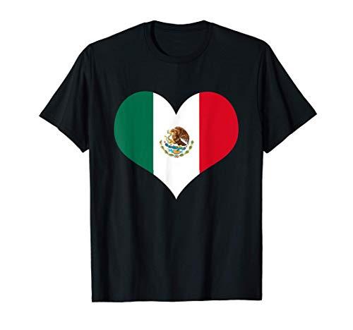 Bandera mexicana Amor Corazón en forma de bandera de México Camiseta