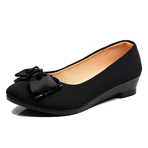 Vrouwen Zwarte Strik Pumps Retro Ronde Neus Wedge Loafers Casual Comfort Flats Elegante Ondiepe Mond Kantoor Werk Bootschoenen
