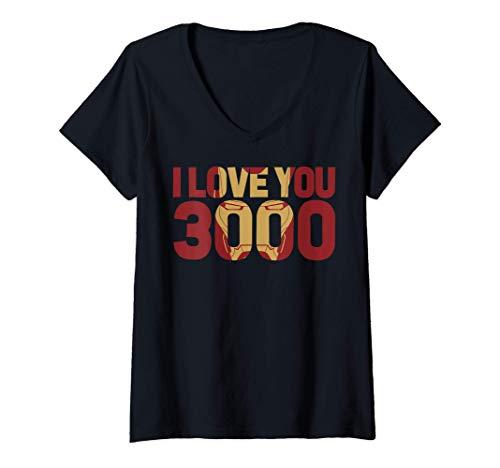 Donna Marvel Avengers Endgame Iron Man I Love You 3000 Text Fill Maglietta con Collo a V