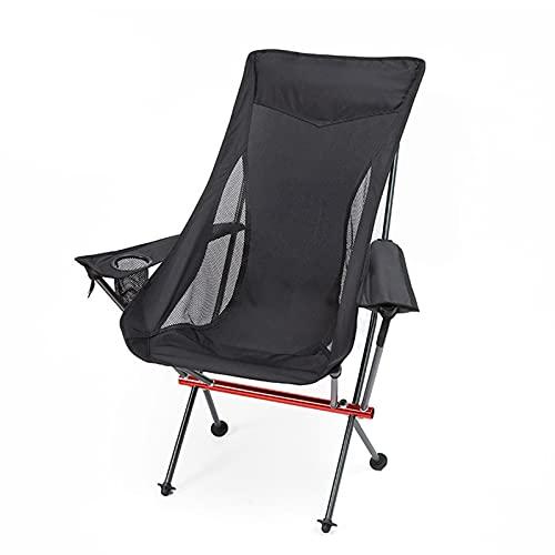 OcobetomUltraleichter tragbarer klappbarer Campingstuhl mit hoher Rückenlehne, schwere Kapazität von 300 lbs, vollständig entspannt, kompakt für Outdoor-Camp, Angeln, Picknick, leichtes Rucksackreisen